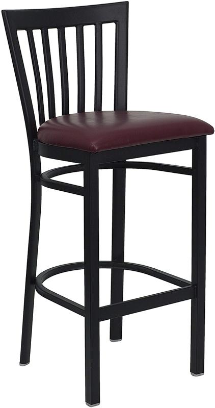 Wholesale HERCULES Series Black School House Back Metal Restaurant Barstool - Burgundy Vinyl Seat