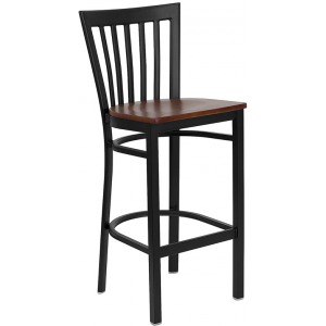 Wholesale HERCULES Series Black School House Back Metal Restaurant Barstool - Cherry Wood Seat