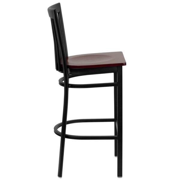 Lowest Price HERCULES Series Black School House Back Metal Restaurant Barstool - Mahogany Wood Seat