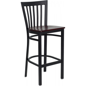 Wholesale HERCULES Series Black School House Back Metal Restaurant Barstool - Mahogany Wood Seat