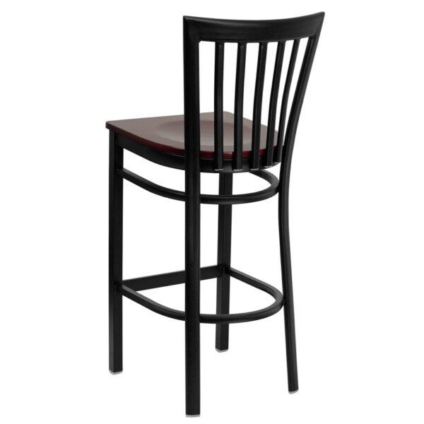 Metal Dining Bar Stool Black School Stool-Mah Seat