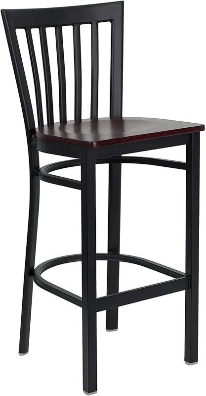 Wholesale HERCULES Series Black School House Back Metal Restaurant Barstool - Mahogany Wood Seat