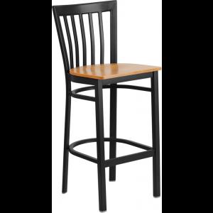 Wholesale HERCULES Series Black School House Back Metal Restaurant Barstool - Natural Wood Seat