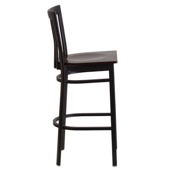 Lowest Price HERCULES Series Black School House Back Metal Restaurant Barstool - Walnut Wood Seat