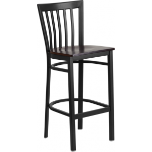 Wholesale HERCULES Series Black School House Back Metal Restaurant Barstool - Walnut Wood Seat