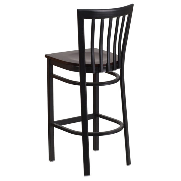 Metal Dining Bar Stool Black School Stool-Wal Seat