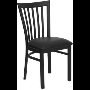 Wholesale HERCULES Series Black School House Back Metal Restaurant Chair - Black Vinyl Seat