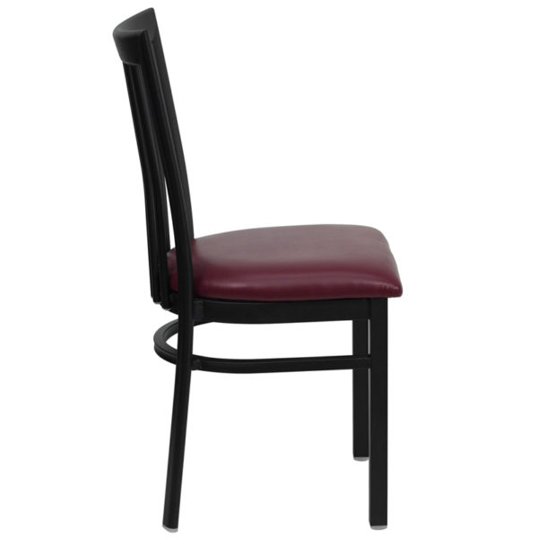 Lowest Price HERCULES Series Black School House Back Metal Restaurant Chair - Burgundy Vinyl Seat