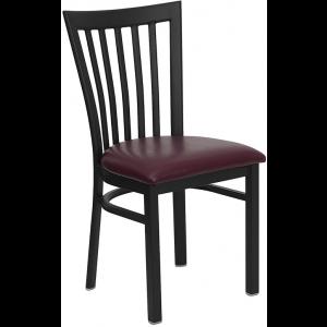 Wholesale HERCULES Series Black School House Back Metal Restaurant Chair - Burgundy Vinyl Seat