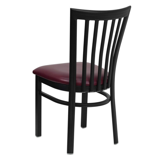 Metal Dining Chair Black School Chair-Burg Seat