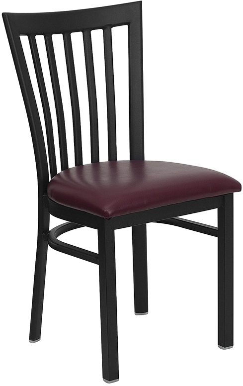 Wholesale HERCULES Series Black School House Back Metal Restaurant Chair - Burgundy Vinyl Seat