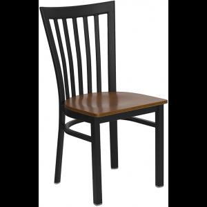 Wholesale HERCULES Series Black School House Back Metal Restaurant Chair - Cherry Wood Seat