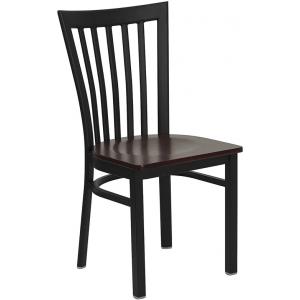 Wholesale HERCULES Series Black School House Back Metal Restaurant Chair - Mahogany Wood Seat