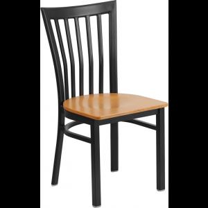Wholesale HERCULES Series Black School House Back Metal Restaurant Chair - Natural Wood Seat