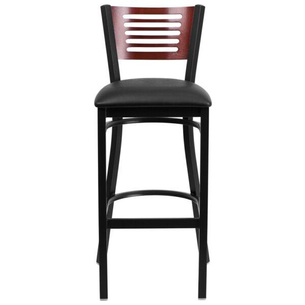 Metal Dining Bar Stool Bk/Mah Slat Stool-Black Seat