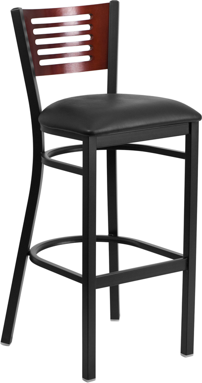 Wholesale HERCULES Series Black Slat Back Metal Restaurant Barstool - Mahogany Wood Back
