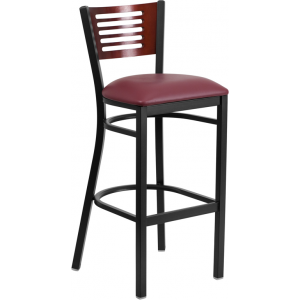 Wholesale HERCULES Series Black Slat Back Metal Restaurant Barstool - Mahogany Wood Back