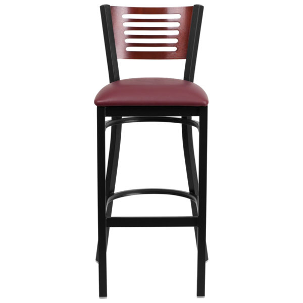 Metal Dining Bar Stool Bk/Mah Slat Stool-Burg Seat