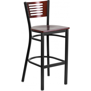 Wholesale HERCULES Series Black Slat Back Metal Restaurant Barstool - Mahogany Wood Back & Seat