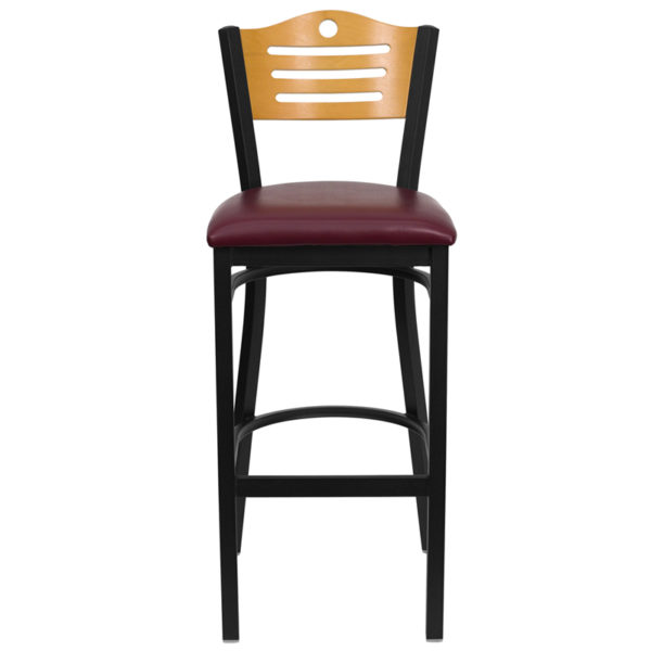 Metal Dining Bar Stool Bk/Nat Slat Stool-Burg Seat