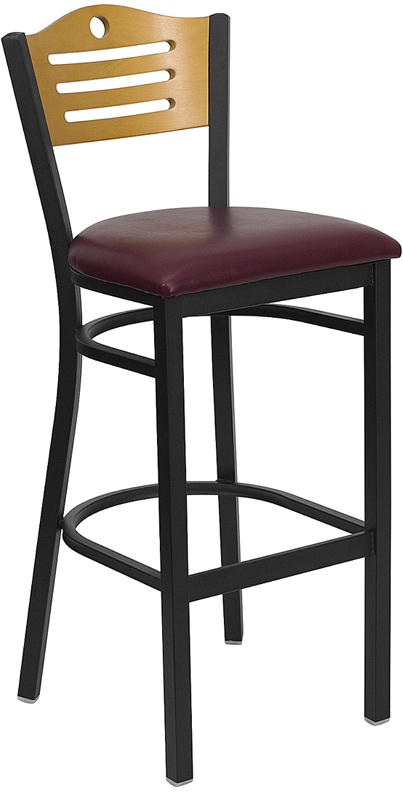 Wholesale HERCULES Series Black Slat Back Metal Restaurant Barstool - Natural Wood Back