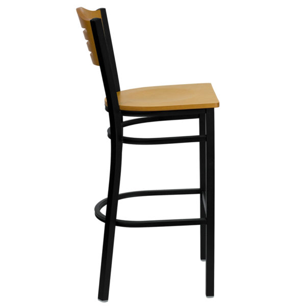 Lowest Price HERCULES Series Black Slat Back Metal Restaurant Barstool - Natural Wood Back & Seat