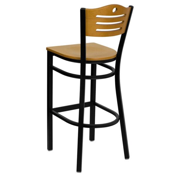 Metal Dining Bar Stool Bk/Nat Slat Stool-Wood Seat