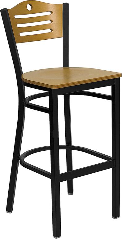 Wholesale HERCULES Series Black Slat Back Metal Restaurant Barstool - Natural Wood Back & Seat
