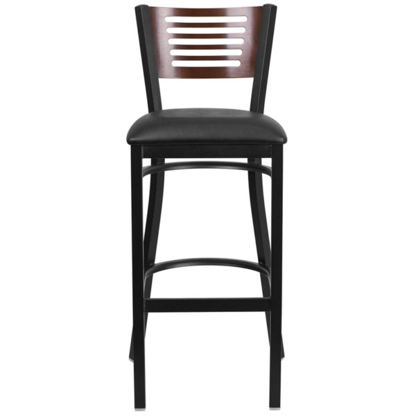 Metal Dining Bar Stool Bk/Wal Slat Stool-Black Seat