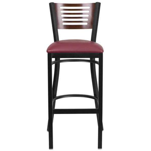Metal Dining Bar Stool Bk/Wal Slat Stool-Burg Seat