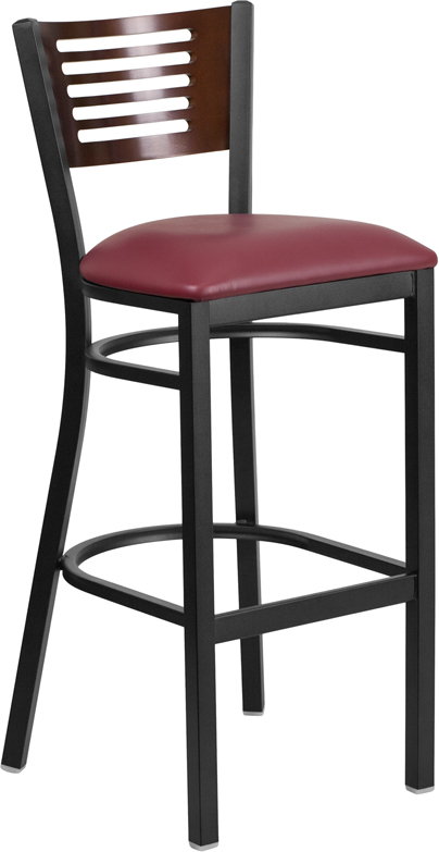 Wholesale HERCULES Series Black Slat Back Metal Restaurant Barstool - Walnut Wood Back