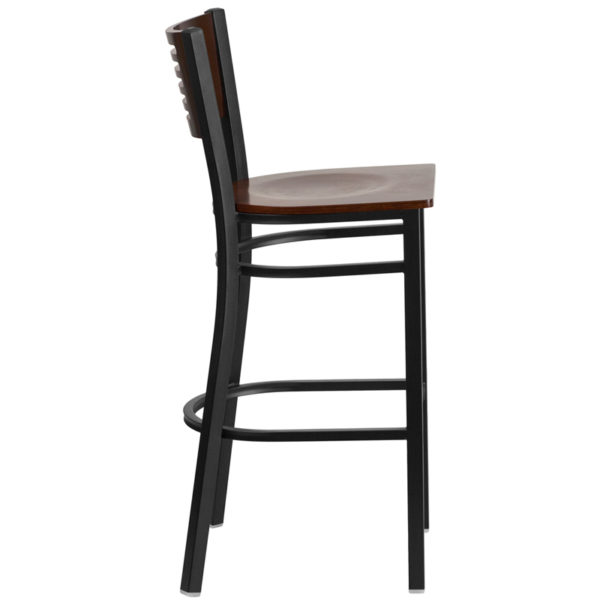 Lowest Price HERCULES Series Black Slat Back Metal Restaurant Barstool - Walnut Wood Back & Seat