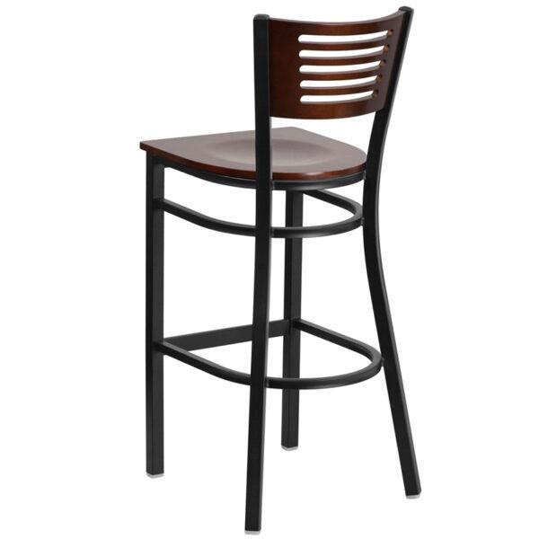 Metal Dining Bar Stool Bk/Wal Slat Stool-Wood Seat