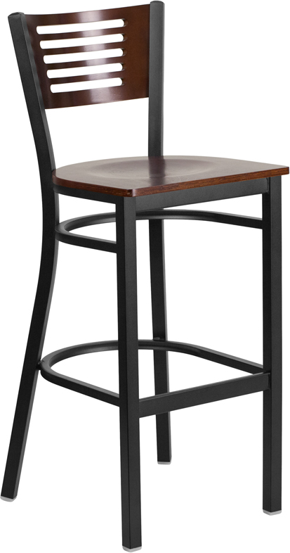 Wholesale HERCULES Series Black Slat Back Metal Restaurant Barstool - Walnut Wood Back & Seat