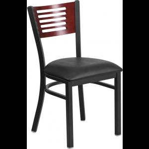 Wholesale HERCULES Series Black Slat Back Metal Restaurant Chair - Mahogany Wood Back