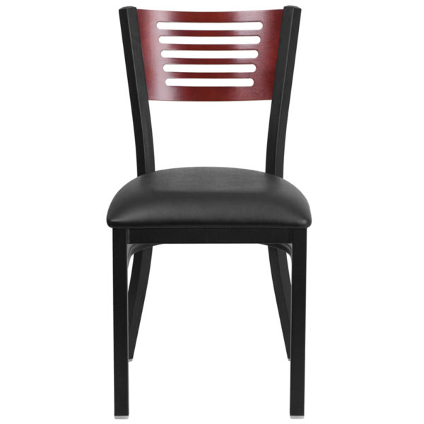 Metal Dining Chair Bk/Mah Slat Chair-Black Seat