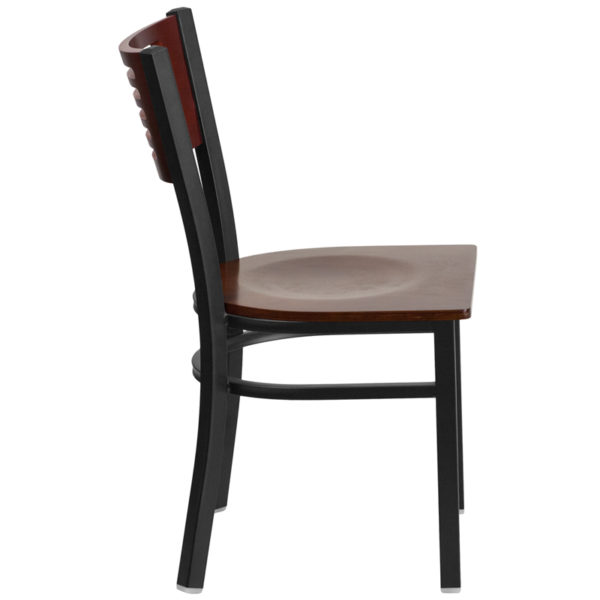 Lowest Price HERCULES Series Black Slat Back Metal Restaurant Chair - Mahogany Wood Back & Seat