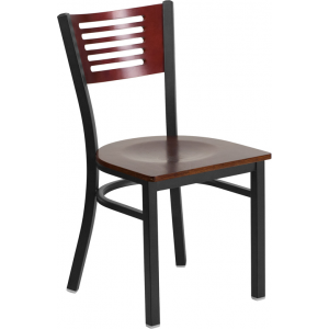 Wholesale HERCULES Series Black Slat Back Metal Restaurant Chair - Mahogany Wood Back & Seat