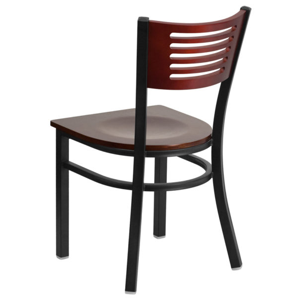 Metal Dining Chair Bk/Mah Slat Chair-Wood Seat