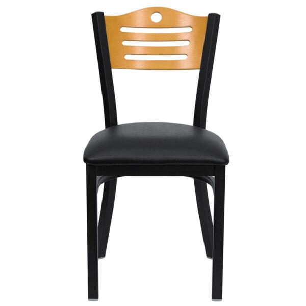 Metal Dining Chair Bk/Nat Slat Chair-Black Seat