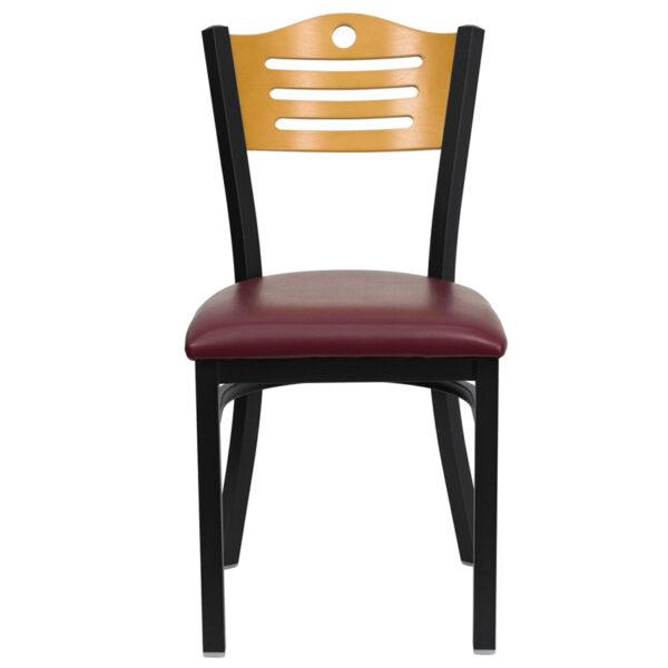 Metal Dining Chair Bk/Nat Slat Chair-Burg Seat
