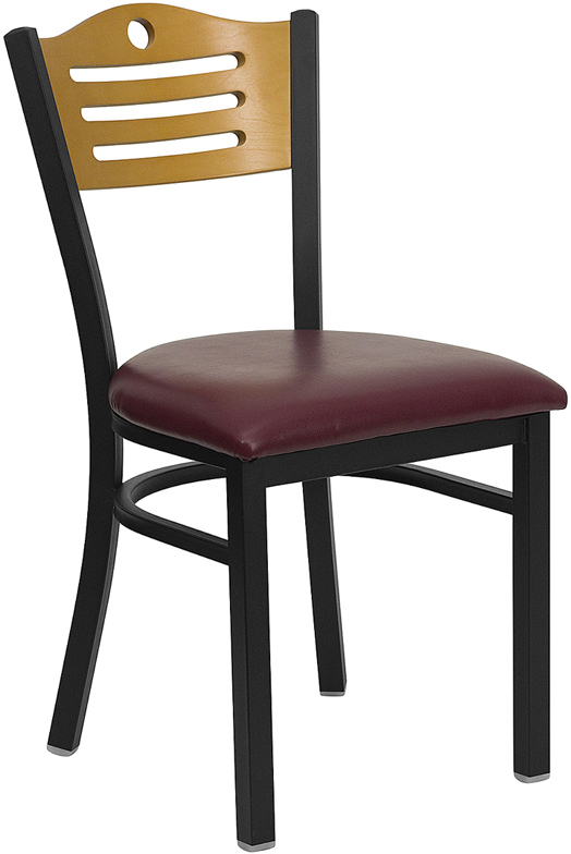 Wholesale HERCULES Series Black Slat Back Metal Restaurant Chair - Natural Wood Back