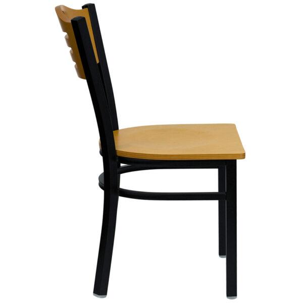 Lowest Price HERCULES Series Black Slat Back Metal Restaurant Chair - Natural Wood Back & Seat