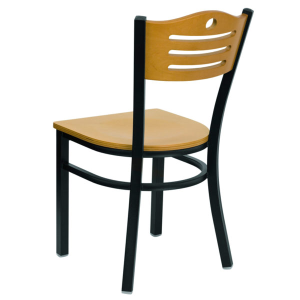 Metal Dining Chair Bk/Nat Slat Chair-Wood Seat