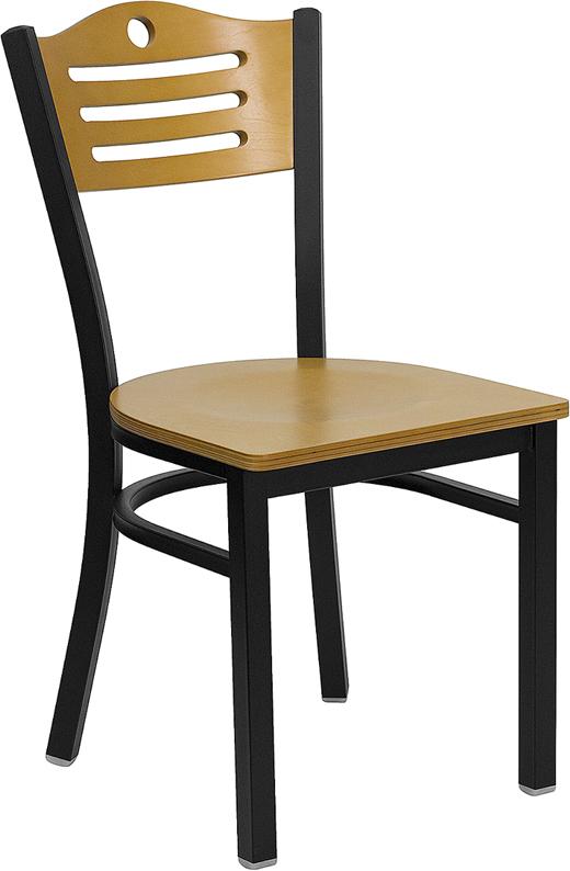 Wholesale HERCULES Series Black Slat Back Metal Restaurant Chair - Natural Wood Back & Seat