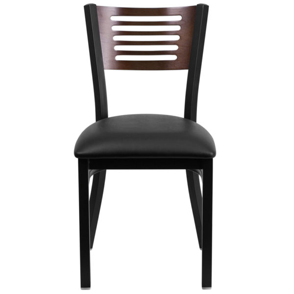 Metal Dining Chair Bk/Wal Slat Chair-Black Seat