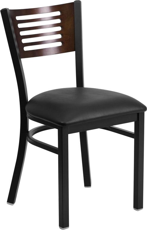 Wholesale HERCULES Series Black Slat Back Metal Restaurant Chair - Walnut Wood Back