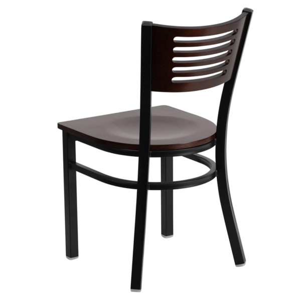 Metal Dining Chair Bk/Wal Slat Chair-Wood Seat