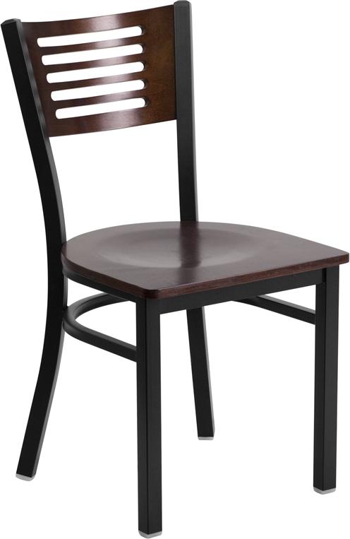 Wholesale HERCULES Series Black Slat Back Metal Restaurant Chair - Walnut Wood Back & Seat
