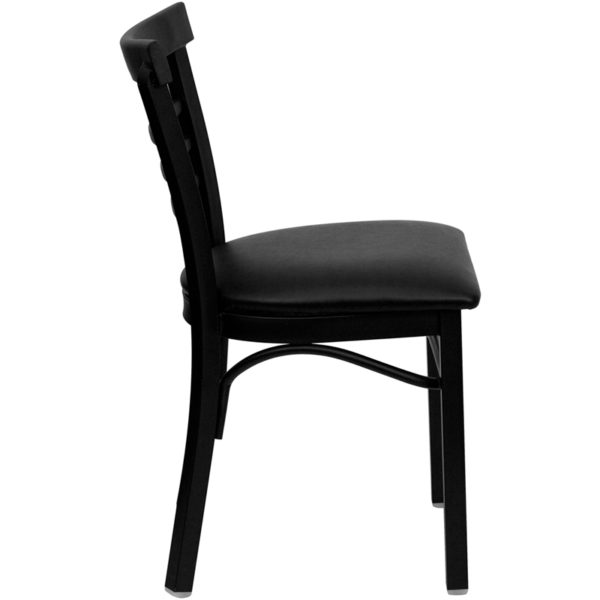 Lowest Price HERCULES Series Black Three-Slat Ladder Back Metal Restaurant Chair - Black Vinyl Seat